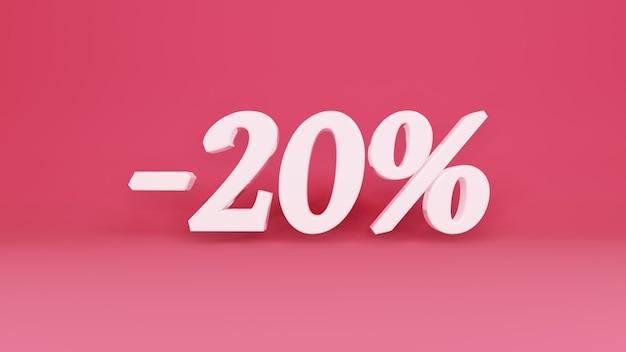 Segno tridimensionale sconto del 20% in commercio