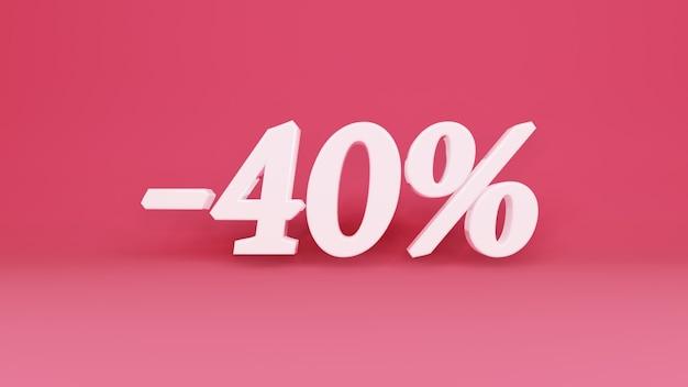 Segno tridimensionale sconto del 40% in commercio