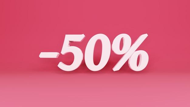 Segno tridimensionale sconto del 50% in commercio
