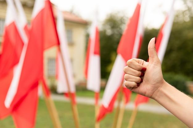 Pollice sul gesto con le bandiere della polonia dietro