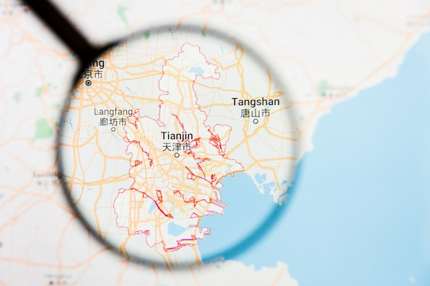 Tianjin, concetto illustrativo di visualizzazione della città della cina sullo schermo tramite la lente d'ingrandimento