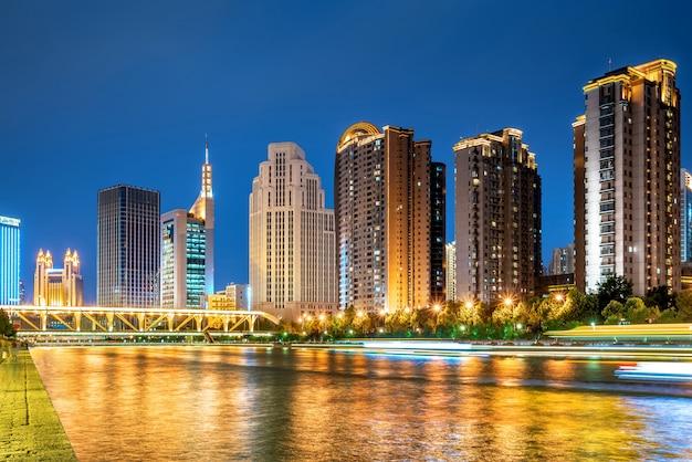 Tianjin city, cina, vista notturna