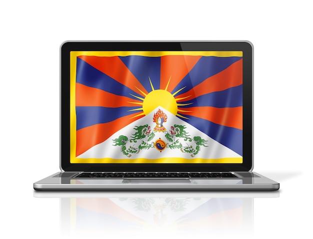 Bandiera del tibet sullo schermo del computer portatile isolato su bianco. rendering di illustrazione 3d.