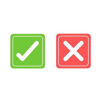 Segni di spunta e croce. segno di spunta verde e x rossa icone isolate. segno di spunta simboli.