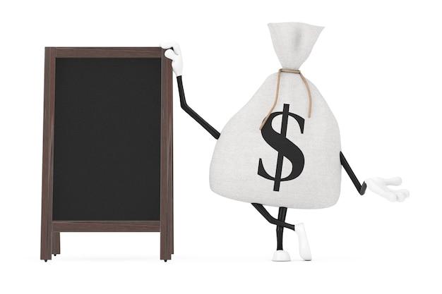 Legato tela rustica tela sacco di soldi o sacco di soldi e segno di dollaro mascotte di caratteri con lavagna menu in legno vuoto esposizione all'aperto su uno sfondo bianco. rendering 3d