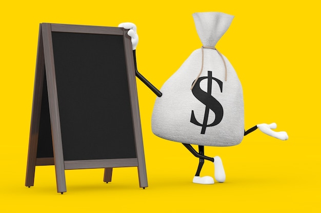 Legato rustico tela tela sacco di soldi o sacco di soldi e segno di dollaro mascotte di caratteri con lavagna menu in legno vuoto display esterno su uno sfondo giallo. rendering 3d