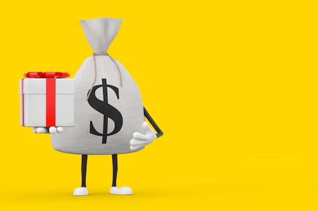 Sacco di soldi di tela di tela rustica legato o sacco di soldi e mascotte del carattere del simbolo del dollaro con scatola regalo e nastro rosso su sfondo giallo. rendering 3d