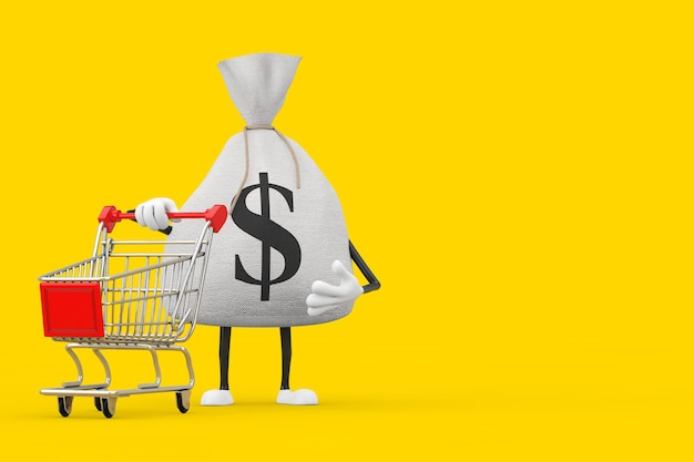 Sacco di soldi di tela di tela rustica legato o sacco di soldi e mascotte del carattere del simbolo del dollaro con il carrello del carrello su un fondo giallo. rendering 3d