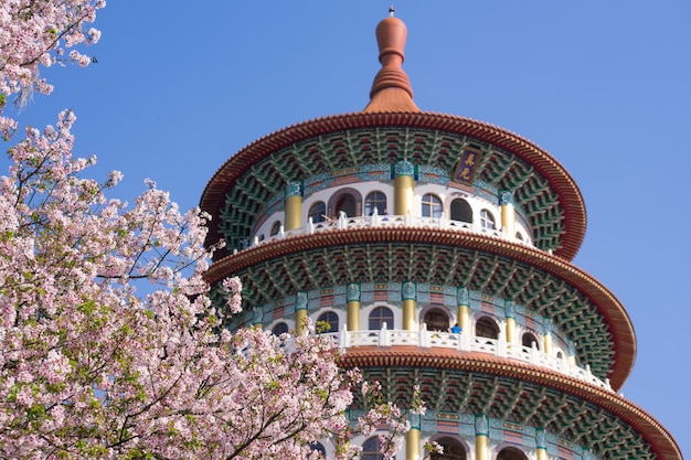 Tempio di tien yuan con i fiori di ciliegio a tamsui, taiwan. (la traduzione inglese del testo è