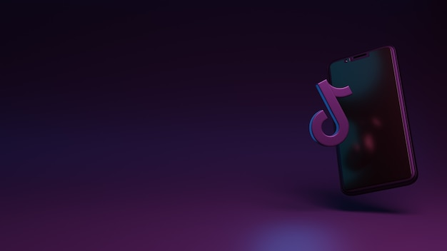 Icona di tiktok con rendering 3d dell'app per smartphone per annunci sui social media