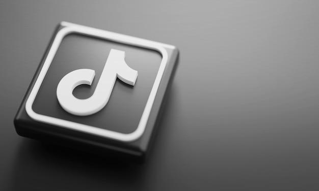 Fine della rappresentazione di logo 3d di tiktok su. modello di promozione dell'account. Foto Premium