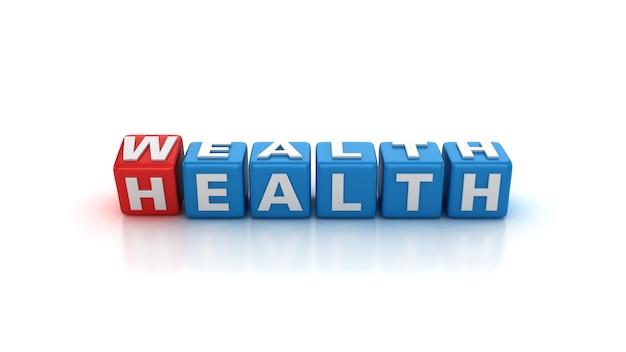 Blocchi di tessere che cambiano da salute a ricchezza di parole