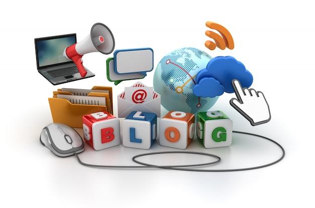 Blocchi di mattonelle con la parola del blog e parecchi oggetti per il concetto di internet