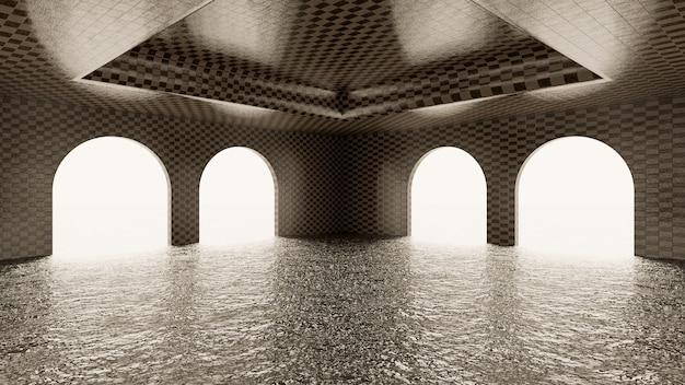 Camera ad arco piastrellata con acqua sul pavimento e sfondo bianco illuminato