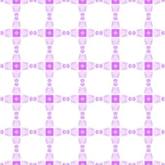 Priorità bassa dell'acquerello piastrellato. viola ammirevole design estivo boho chic. bordo ad acquerello piastrellato dipinto a mano. stampa travolgente pronta per il tessuto, tessuto per costumi da bagno, carta da parati, avvolgimento.