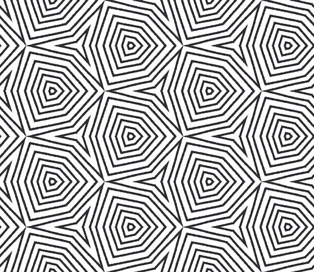 Reticolo dell'acquerello piastrellato. sfondo nero caleidoscopio simmetrico. acquerello piastrellato dipinto a mano senza soluzione di continuità. stampa artistica tessile pronta, tessuto per costumi da bagno, carta da parati, avvolgimento.