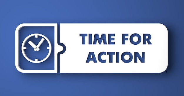 Tempo per il concetto di azione. pulsante bianco su sfondo blu in stile design piatto.