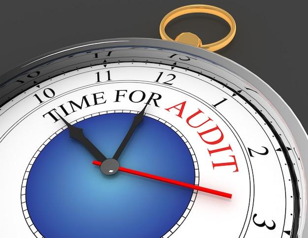 Tempo per l'audit della parola rossa sull'orologio del concetto