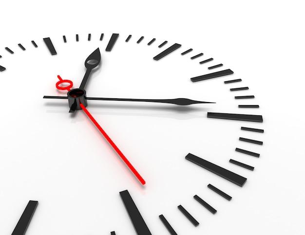 Primo piano dell'orologio del concetto di tempo 3d