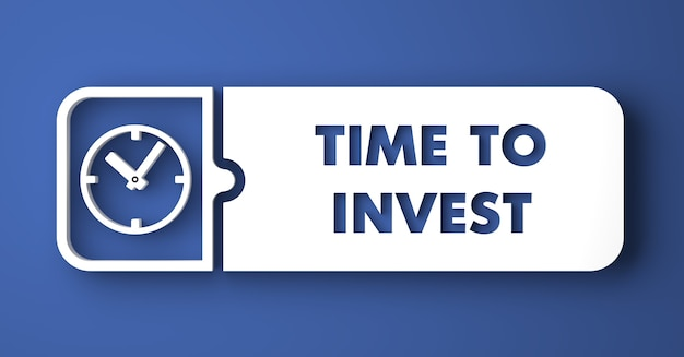 È tempo di investire concept. pulsante bianco su sfondo blu in stile design piatto.