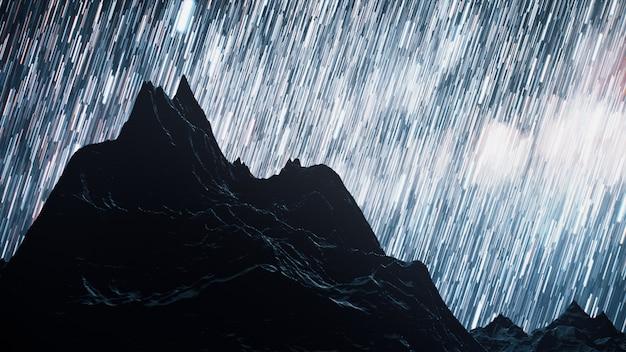 Un lasso di tempo di una notte stellata con un'ombra di montagne