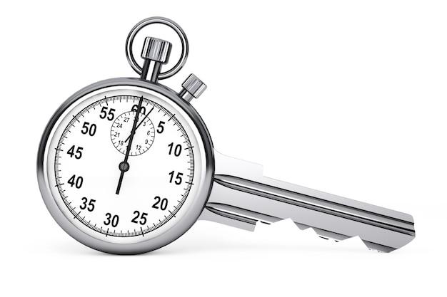 Concetto di gestione del tempo. cronometro come chiave su sfondo bianco. rendering 3d