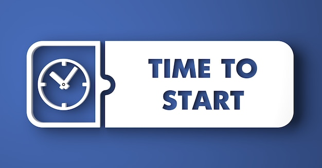 È ora di iniziare il concetto. pulsante bianco su sfondo blu in stile design piatto.