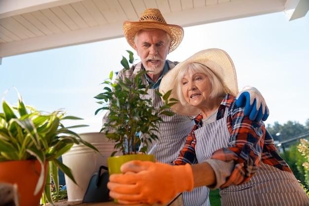 Tempo insieme. coppia di anziani marito e moglie che si sentono veramente gioiosi trascorrono del tempo insieme facendo giardinaggio