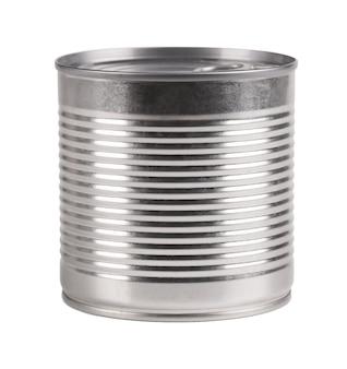 Barattolo di latta isolato barattoli di metallo per prodotti in scatola e in salamoia.