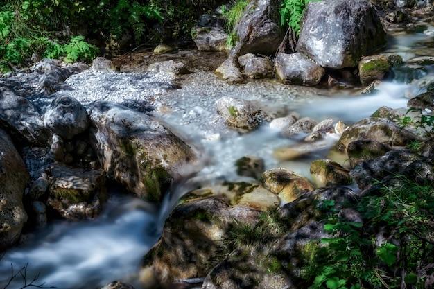 Piccole rapide al torrente val vertova vicino a bergamo in italia