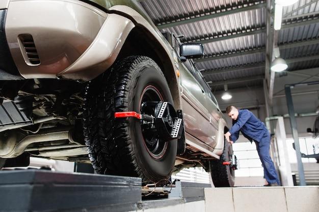 Allineatore bloccato per pneumatici per ruote auto