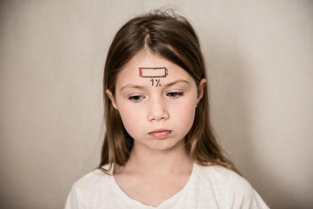 Ragazza stanca del bambino con il concetto di stress e affaticamento dell'icona di carica bassa