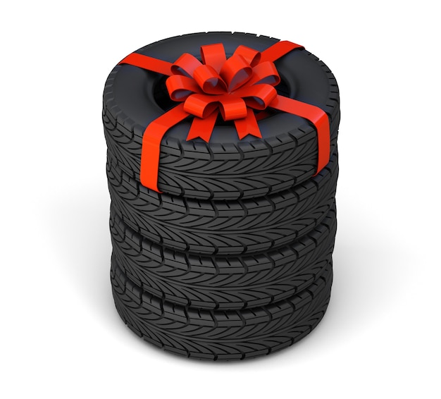 Pneumatici in regalo. set di quattro pneumatici, uno legato con un nastro regalo rosso con un fiocco. isolato su sfondo bianco. rendering 3d.