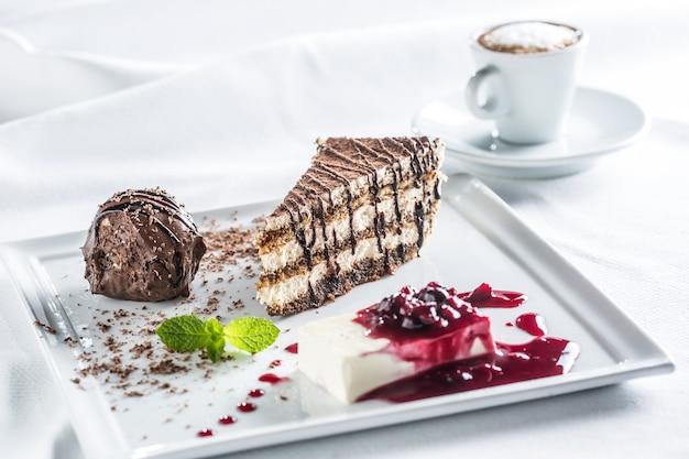 Dessert italiano di titamisu con l'erba ed il caffè della menta del profiteroll del cioccolato di pana cotta.