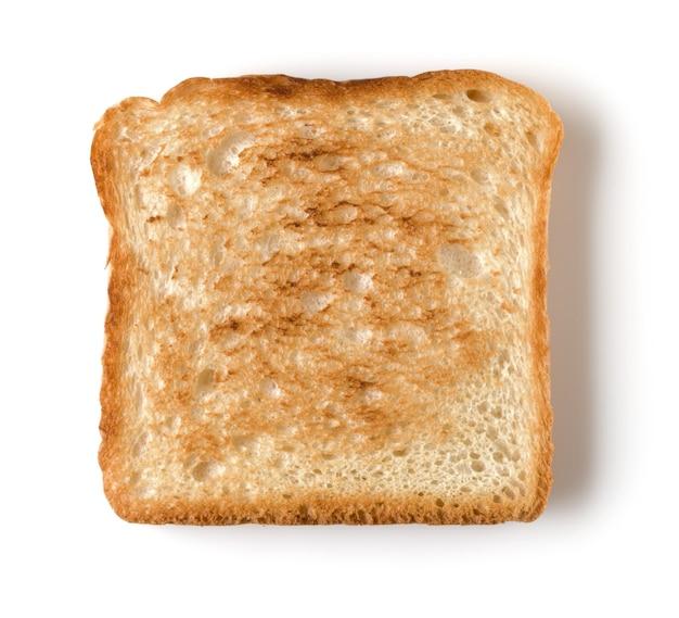 Fetta di pane tostato isolato sulla fine bianca del fondo su.