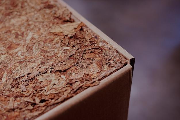 Foglia di tabacco all'interno della scatola