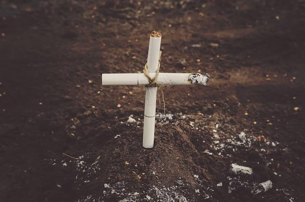 Una tomba di tabacco in un cimitero. morte per cancro ai polmoni. i pericoli del fumo. anti tabacco una foto concettuale.