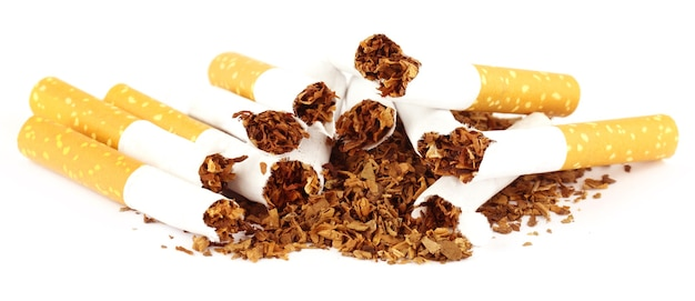 Tabacco con sigaretta strappata su sfondo bianco