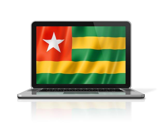 Bandiera del togo sullo schermo del computer portatile isolato su bianco. rendering di illustrazione 3d.