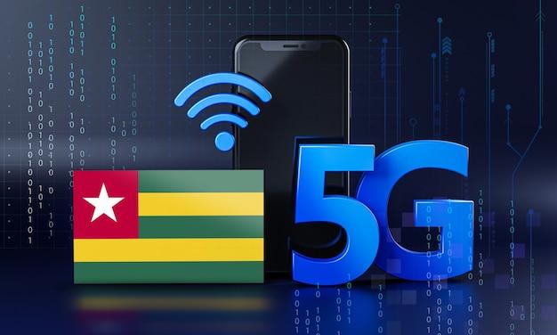 Togo pronto per il concetto di connessione 5g. sfondo di tecnologia smartphone rendering 3d