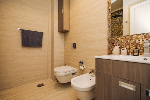 La toilette in bagno. l'interno di un bagno nell'appartamento. il wc e il bidet.