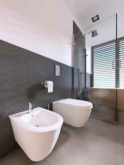 Wc e bidet bagno moderno di stile scandinavo. rendering 3d