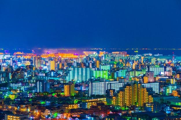 Città di tokyo di notte, vista dal ponte dell'osservatorio funabori tower hall