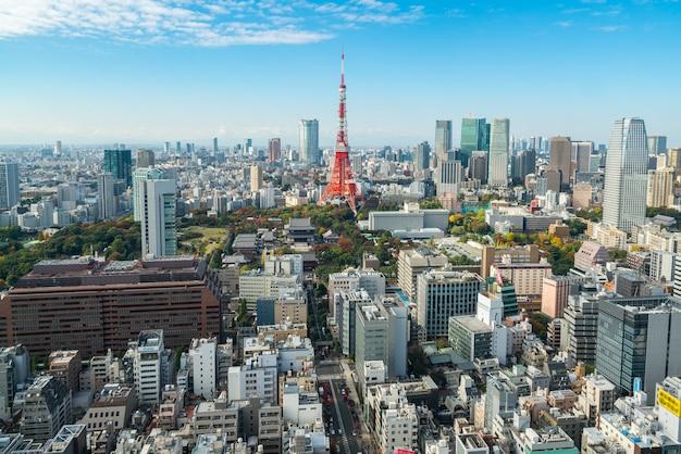 Torre di tokyo, giappone - tokyo city skyline e cityscape