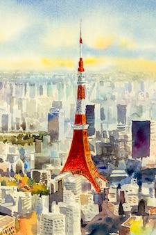 Punto di riferimento della torre di tokyo del giappone