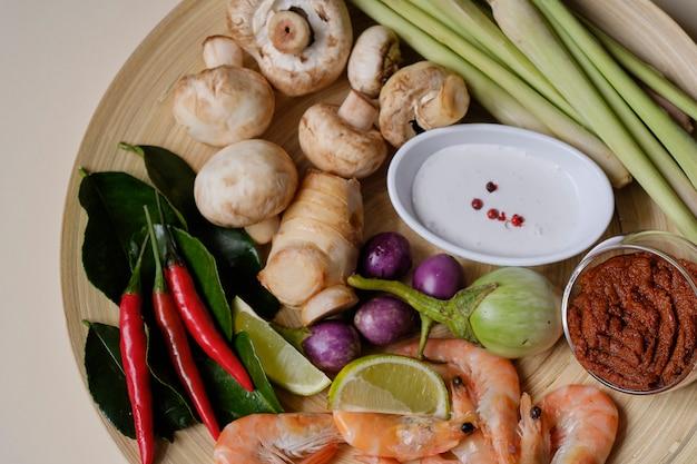 Citronella galangal del gamberetto dell'ingrediente di minestra tailandese di tom yum