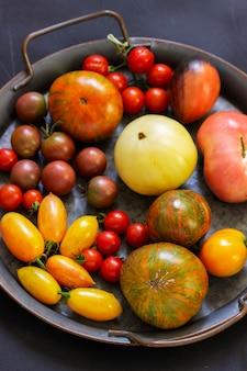 Pomodori di diverse varietà e dimensioni su uno sfondo scuro.