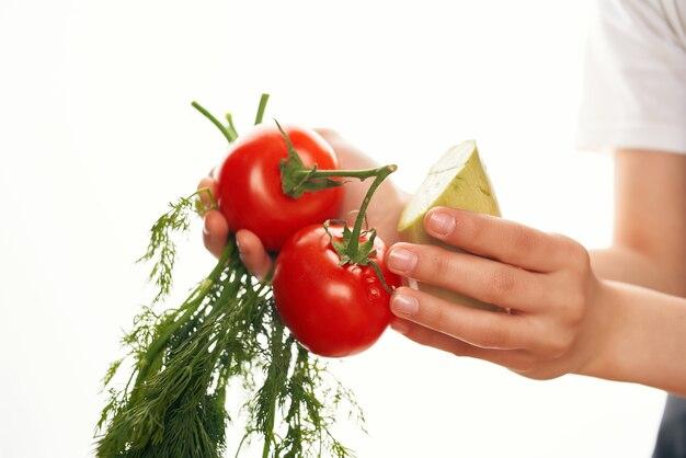 Pomodori verdure verdure ingredienti da cucina per insalata