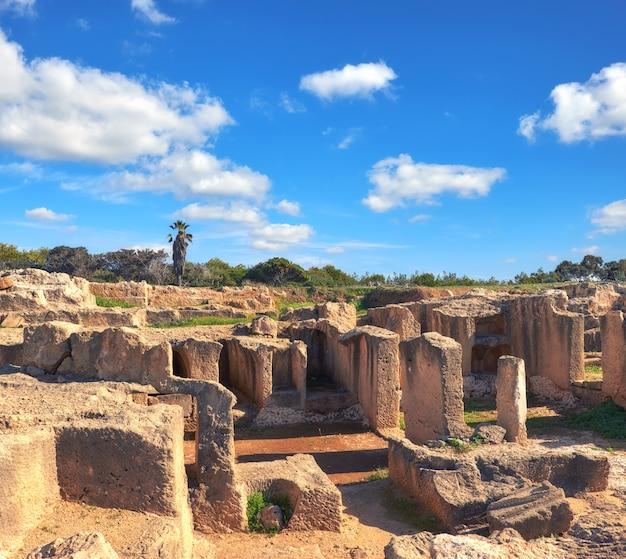 Tombe dei re, museo archeologico nella città di paphos, cipro