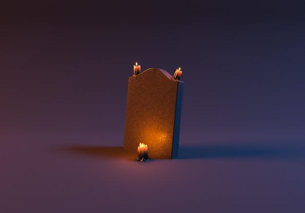Pietra tombale con candele accese in scena minimalista. rendering 3d